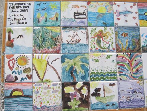 child art tiles on bench 01