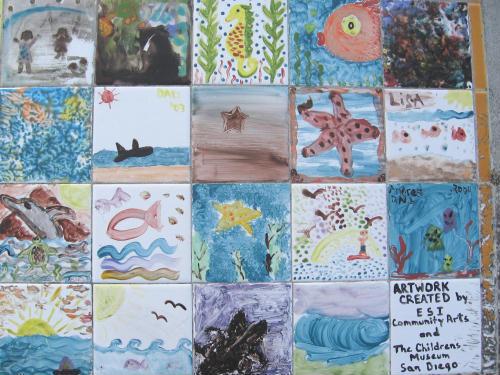 child art tiles on bench 02
