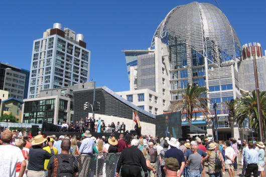 big crowd at san diego library grand opening