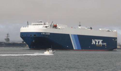 cool car carrier cargo ship in san diego bay