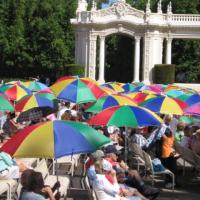 Umbrellas add color to Sunday organ concert.