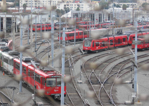 cool chaotic photo of trolley yard