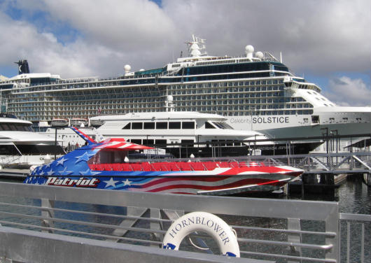 cruise ship and harbor tour boats at dock