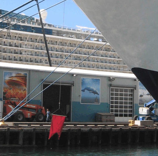cruise ships and murals on san diego bay