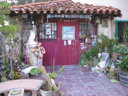 funky art studio in spanish village