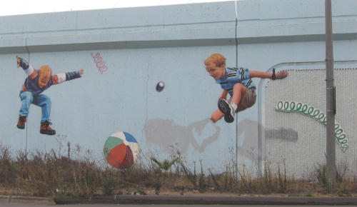 mission valley mural of kids at play