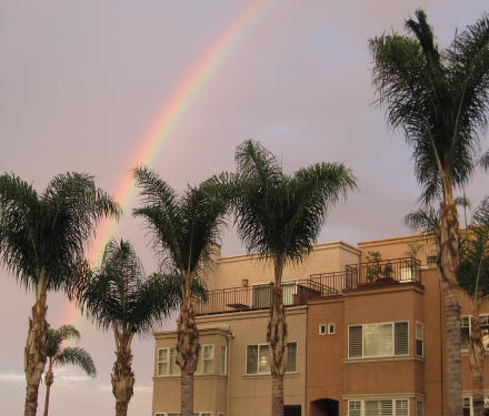 morning rainbow over san diego
