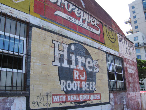 old hires root beer ad on building wall