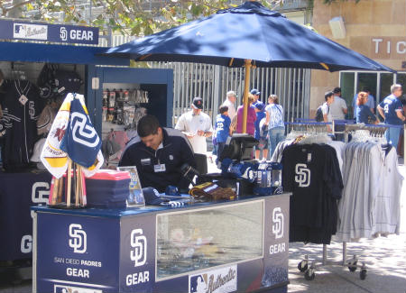 padres fan gear vendor outside petco park