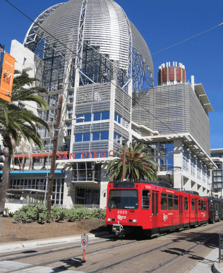 photo of new san diego library and trolley