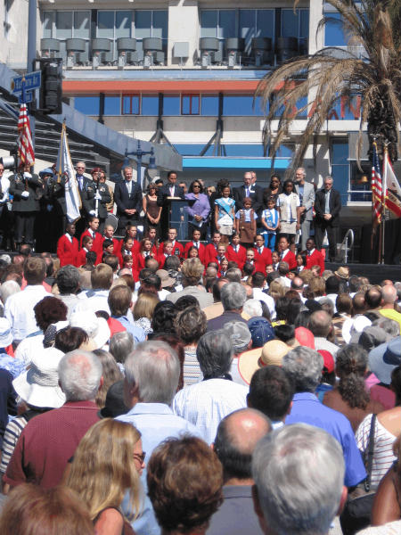 presentation of colors at library grand opening