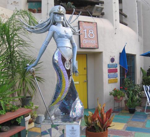 sexy silver mermaid in spanish village