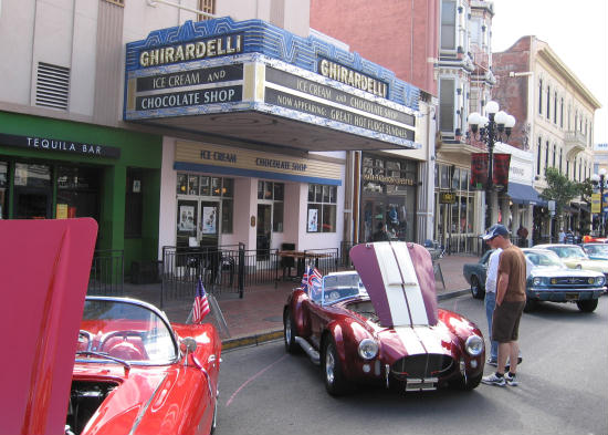 cool cars in front of ghirardelli's