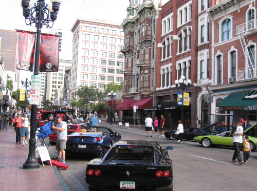 cool cars and historic buildings in gaslamp