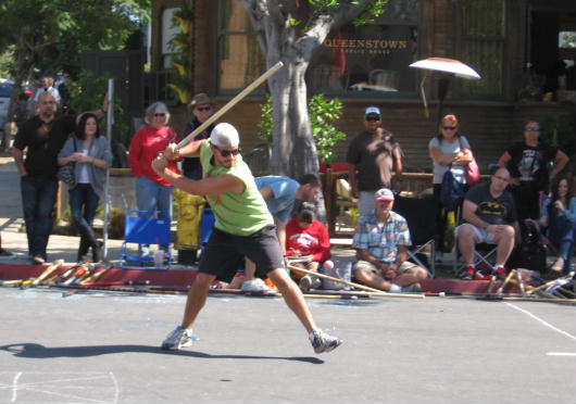 stickball batter swings away in little italy