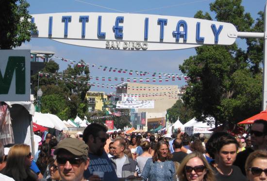 a crowd enjoys festa in little italy