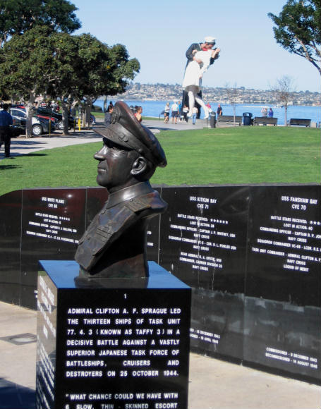 admiral sprague bust remembers leyte gulf battle