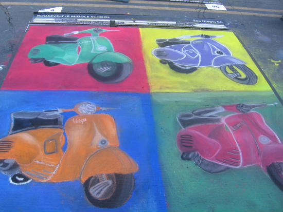 andy warhol style mopeds as chalk art