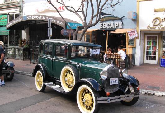 antique car at san diego gaslamp showcase