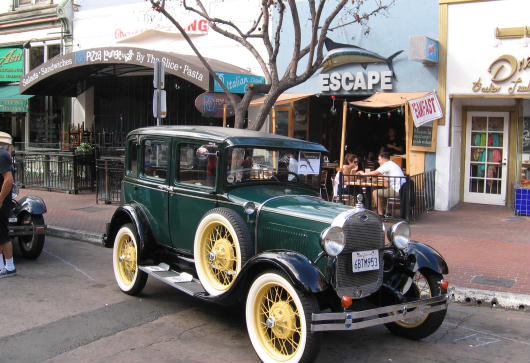 antique car at san diego gaslamp showcase