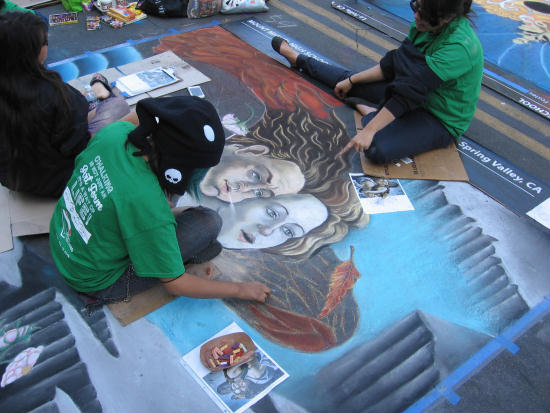 artists at work at festa event in san diego