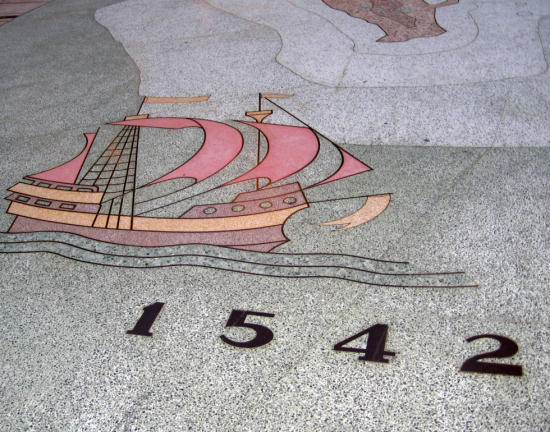 cabrillo's galleon san salvador sails in civic center plaza