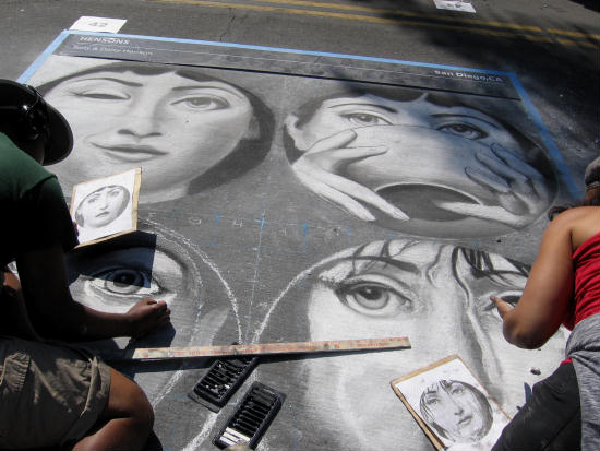 chalk faces at little italy's festa celebration