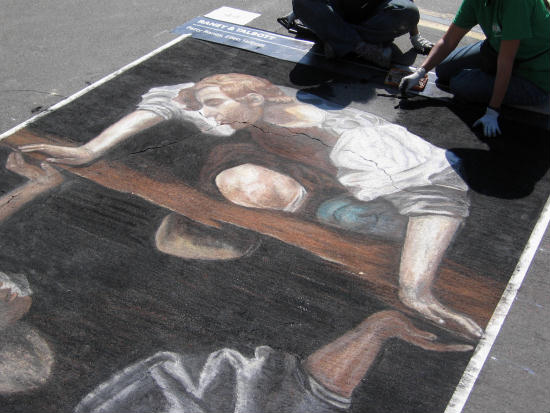 classic italian chalk art at festa in san diego