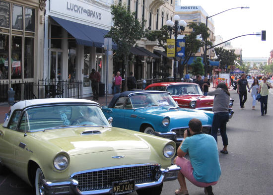cool cars displayed in downtown san diego