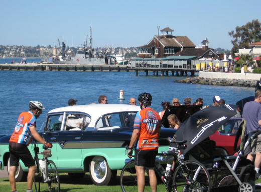 cool cars next to seaport village