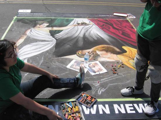 creating a chalk art masterpiece
