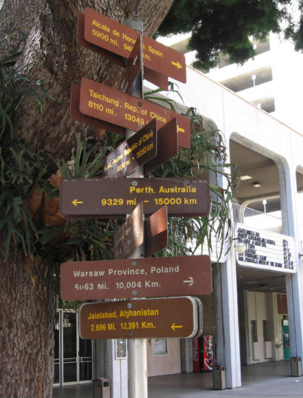distance signs at san diego civic center plaza