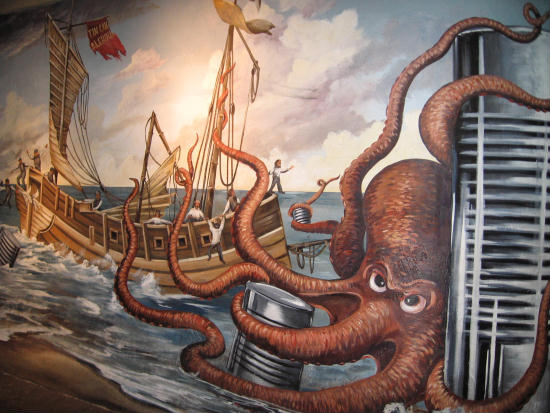 giant octopus steals tin cans from ship