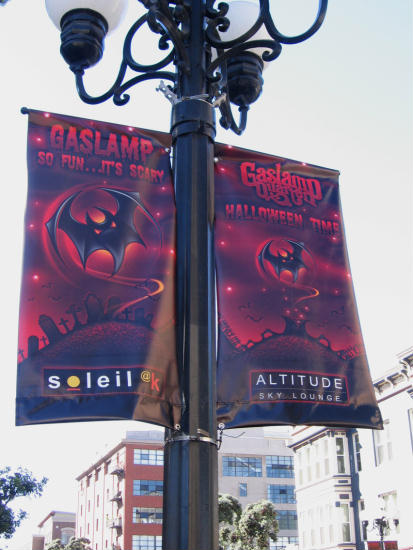 halloween banners on gaslamp lamp posts