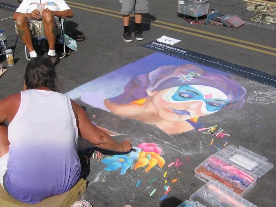 italian chalk art creation at festa