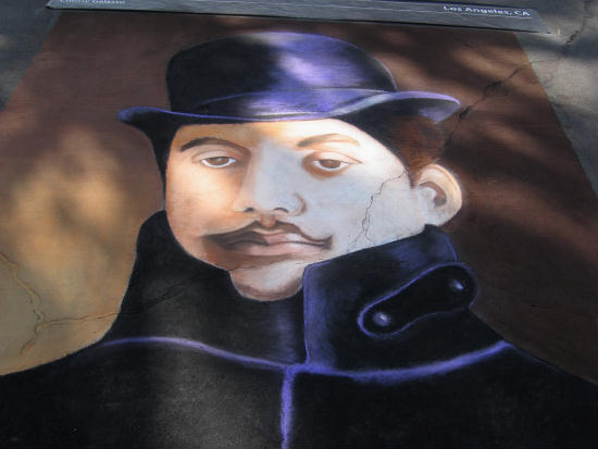 italian chalk face at san diego's festa