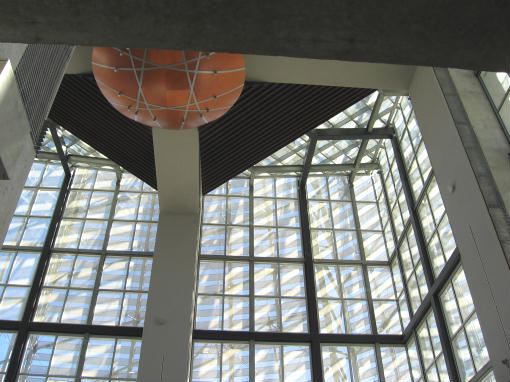 looking upward in reading room of san diego central library
