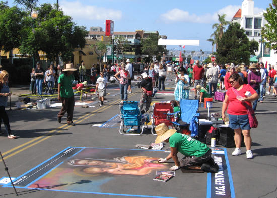 lots of people and little italy chalk art