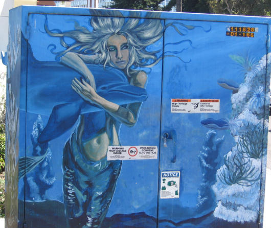 mermaid embraces dolphin on coronado island