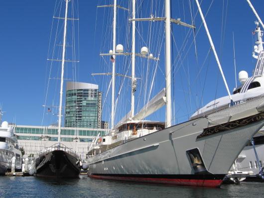 yachts behind san diego convention center
