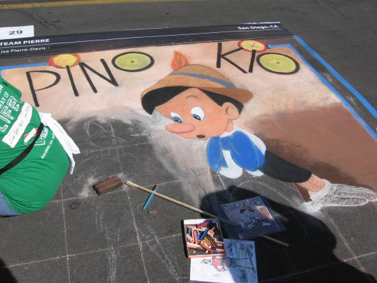 pinocchio appears on a san diego street