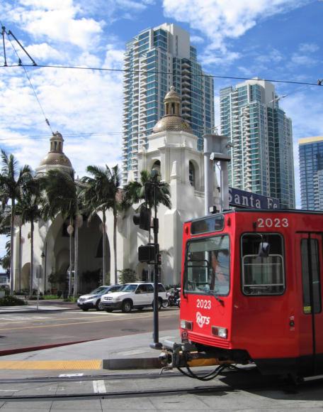 red san diego trolley and santa fe depot