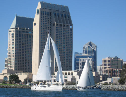 sailboats in front of the manchester grand hyatt