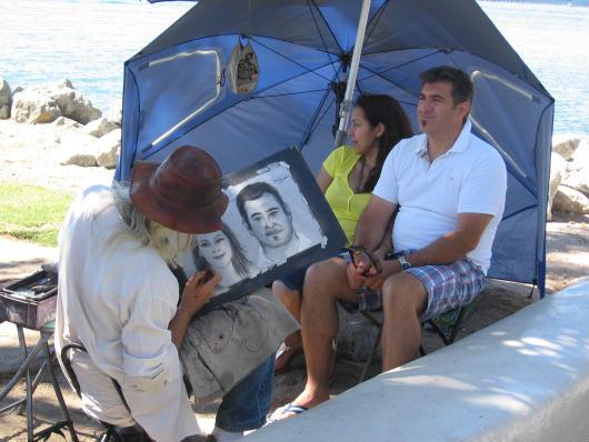 seaport village portrait artist at work