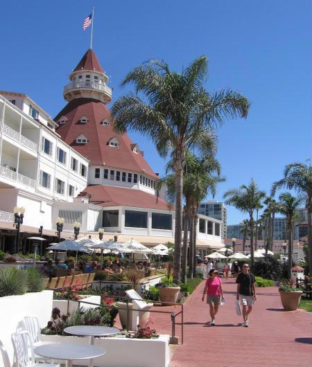 view of hotel del coronado on a sunny day