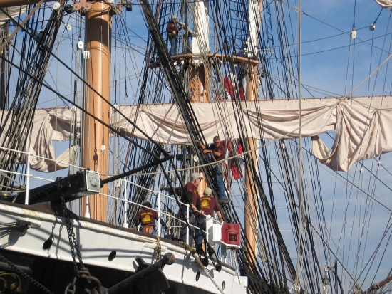 climbing into the rigging of the star of india