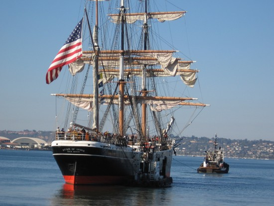 star of india is tugged out of san diego harbor