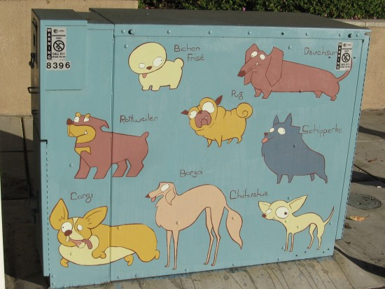 colorful dog breeds painted on utility box