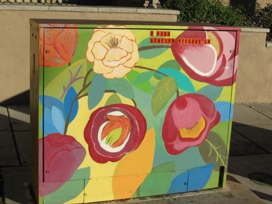 beautiful flowers decorate a utility box