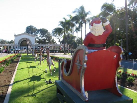 santa claus rides sleigh in balboa park